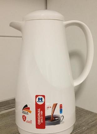Термос кувшин 1 л. для чая кофе и напитков с стеклянной колбой