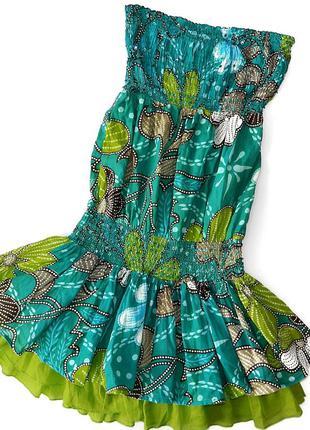 Платье сарафан без бретелек на резинке