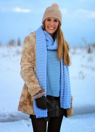 Теплый объемный шарф zara