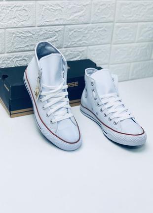 Кеды converse кожаные мужские высокие белые кеды ботинки
