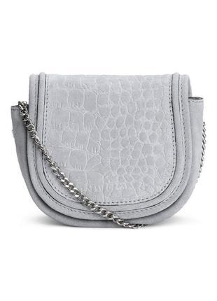 Маленькая сумка на плечо h&m натуральная замша