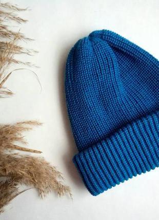 Шапка на осень, весну и зиму, синяя, теплая, базовая, синя, ба...