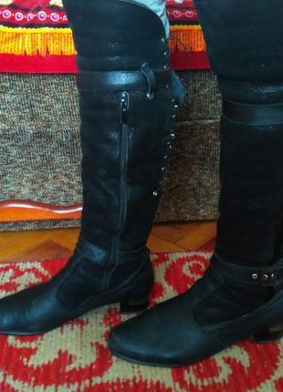 Сапоги-ботфорты кожаные (черные)