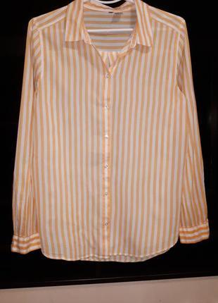 Крутая коттоновая рубашка в полоску раз.l