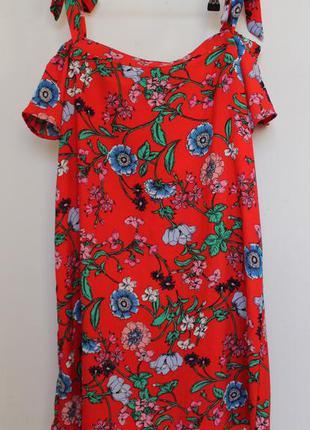 New look платье в цветы со спущенными плечами красное