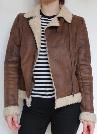 H&m куртка дубленка с мехом