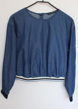 Zara джинсовый свитшот топ на резинке