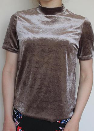 Zara бархатная футболка велюр