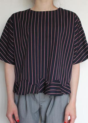 Zara блуза с воланами в полоску