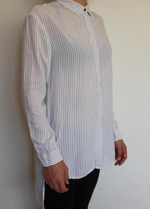 Zara удлиненная рубашка в полоску белая