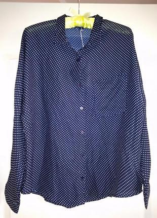 Блуза летучая мышь, тёмно-синего цвета в мелкий горошек///мног...