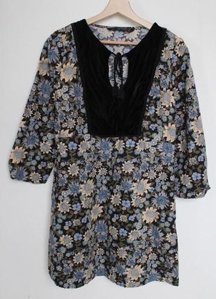 Zara платье с бархатной вставкой цветочный принт