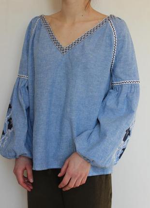 Zara женская льняная блузка рубашка с вышивкой
