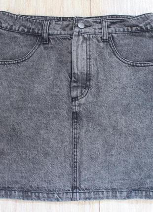 Monki юбка джинсовая серая