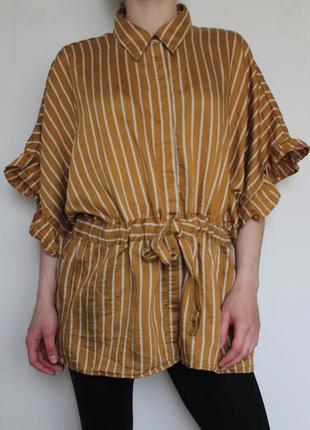 Zara oversize рубашка с поясом в полоску
