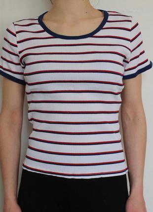 H&m футболка в  цветную полоску zara