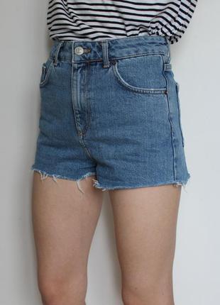 Topshop джинсовые шорты с высокой посадкой короткие