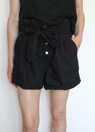 Zara женские льняные шорты черные с высокой посадкой и поясом