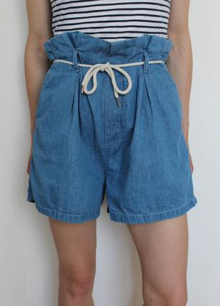 Even&odd джинсовые шорты с высокой посадкой на шнурке