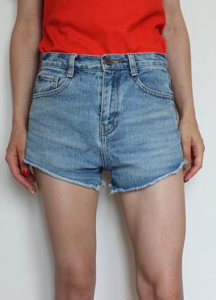 Zara короткие джинсовые шорты с высокой посадкой