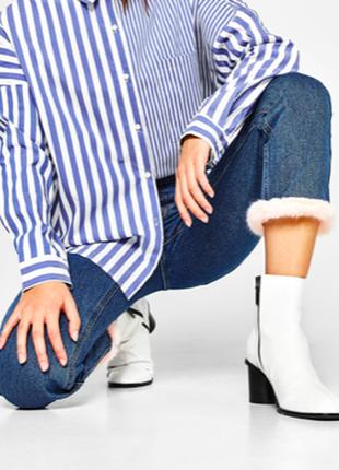 Bershka джинсы с высокой посадкой с мехом mom