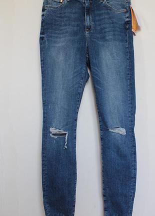 H&m новые джинсы с высокой посадкой с дырками на коленях скини