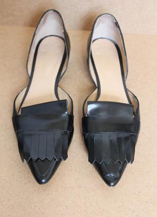 Navyboot кожаные балетки черные с острым носком