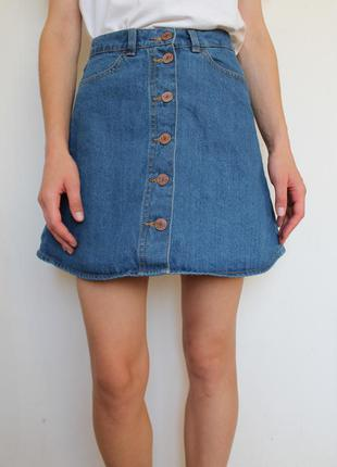 Monki джинсовая юбка на пуговицах bershka