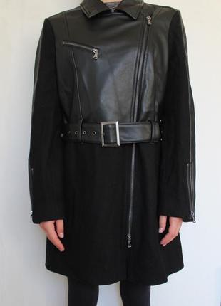 Sisley женское комбинированное пальто кожа шерсть