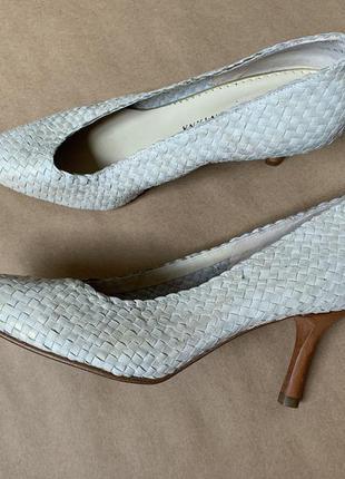 Pons quintana кожаные плетёные туфли лодочки светлые белые