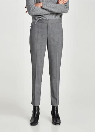 Zara basic брюки в клетку классические вискоза