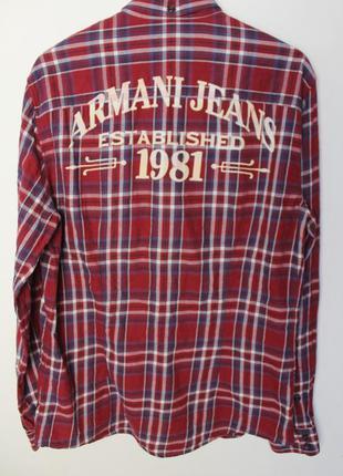 Armani jeans рубашка в клетку мужская с надписью на спине