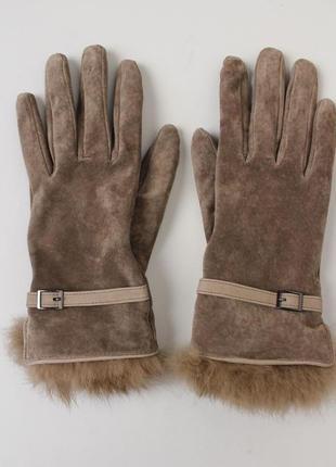 Натуральные кожаные перчатки замш с мехом