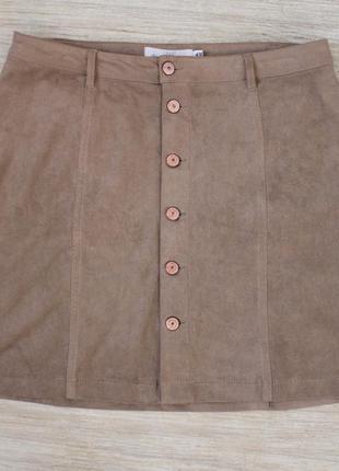 H&m юбка на пуговицах замшевая размер l