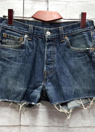 Винтажные джинсовые шорты на высокой посадке levis (2162)