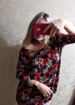 Шикарная блуза в цветы р. 48-52