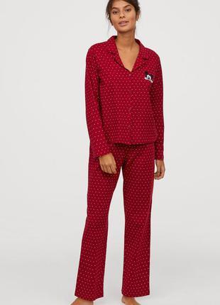 Пижама, костюм для дома h&m  с микки маусом, хлопок