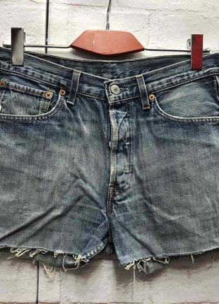 Винтажные джинсовые шорты на высокой посадке levis (2164)
