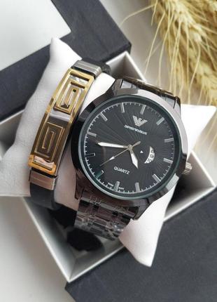 Часы мужские, набор, кварцевые, браслет, металичиские, черные