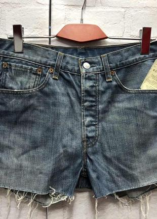 Винтажные джинсовые шорты на высокой посадке levis (2168)