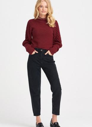Donna брюки брендовые момы под кожу с высокой талией