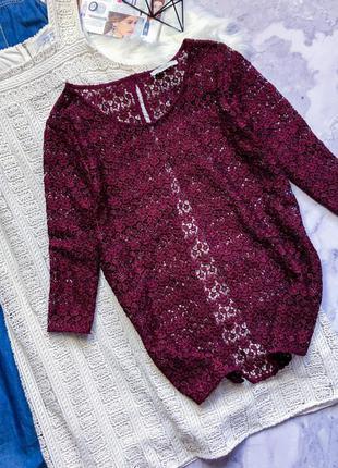 Шикарная кружевная блуза винного цвета