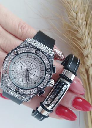 Набор, часы, браслет, новинка, хублот, в камнях,на подарок, бренд