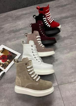 🔥натуральные замшевые/кожаные ботинки демисезонные/зимние на ш...