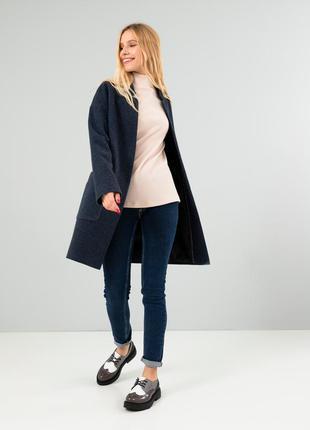 Женское пальто season виена сине-серого цвета
