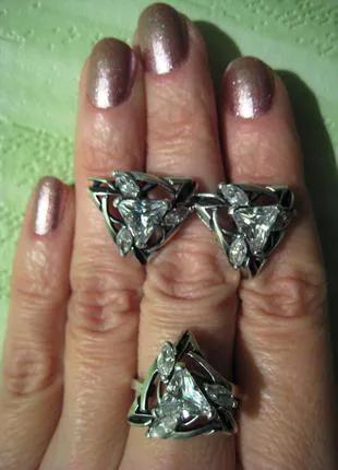 Комплект серебро 925, кольцо и серьги
