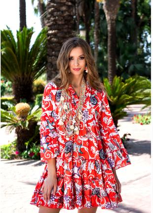 Новинка красивое летнее платье с ракушками в алой расцветке ко...