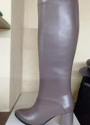 Сапоги ботфорты  из натуральной кожи цвет визон