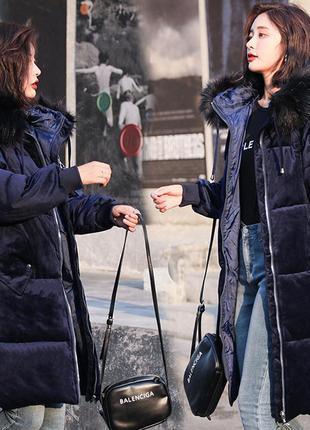 Женский удлиненный зимний бархатный пуховик, парка, куртка тем...