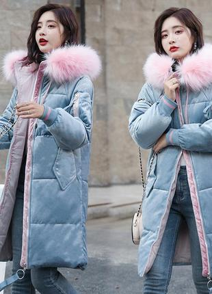 Женский удлиненный зимний бархатный пуховик, парка, куртка гол...